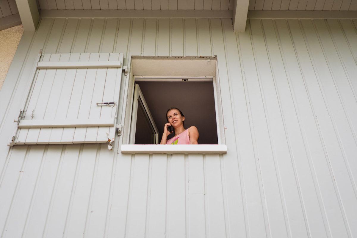 Bride having a phone call