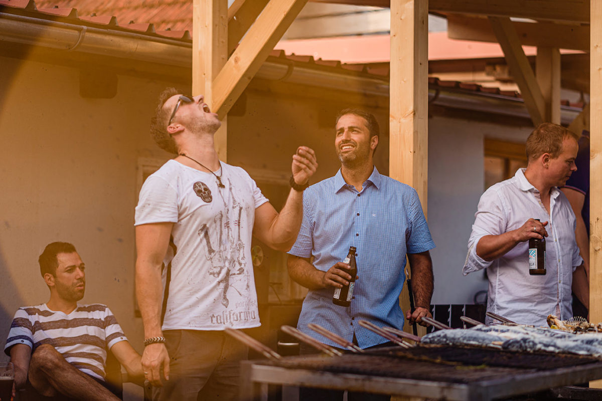 Boys at barbecue before wedding day