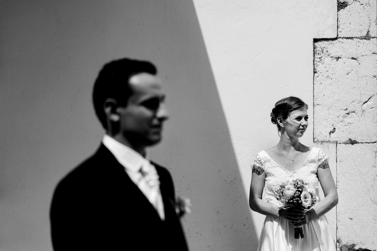 Bride portrait in black and white - Wedding in French Alps