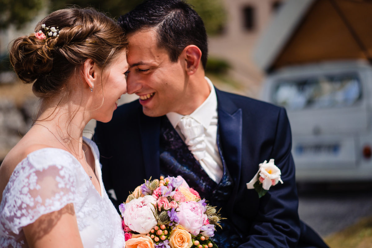 Happy bride and groom - Wedding in French Alps