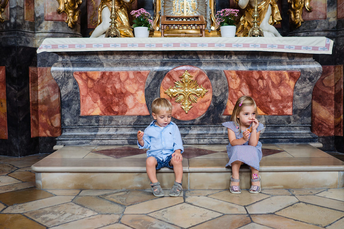 Kids waiting at wedding