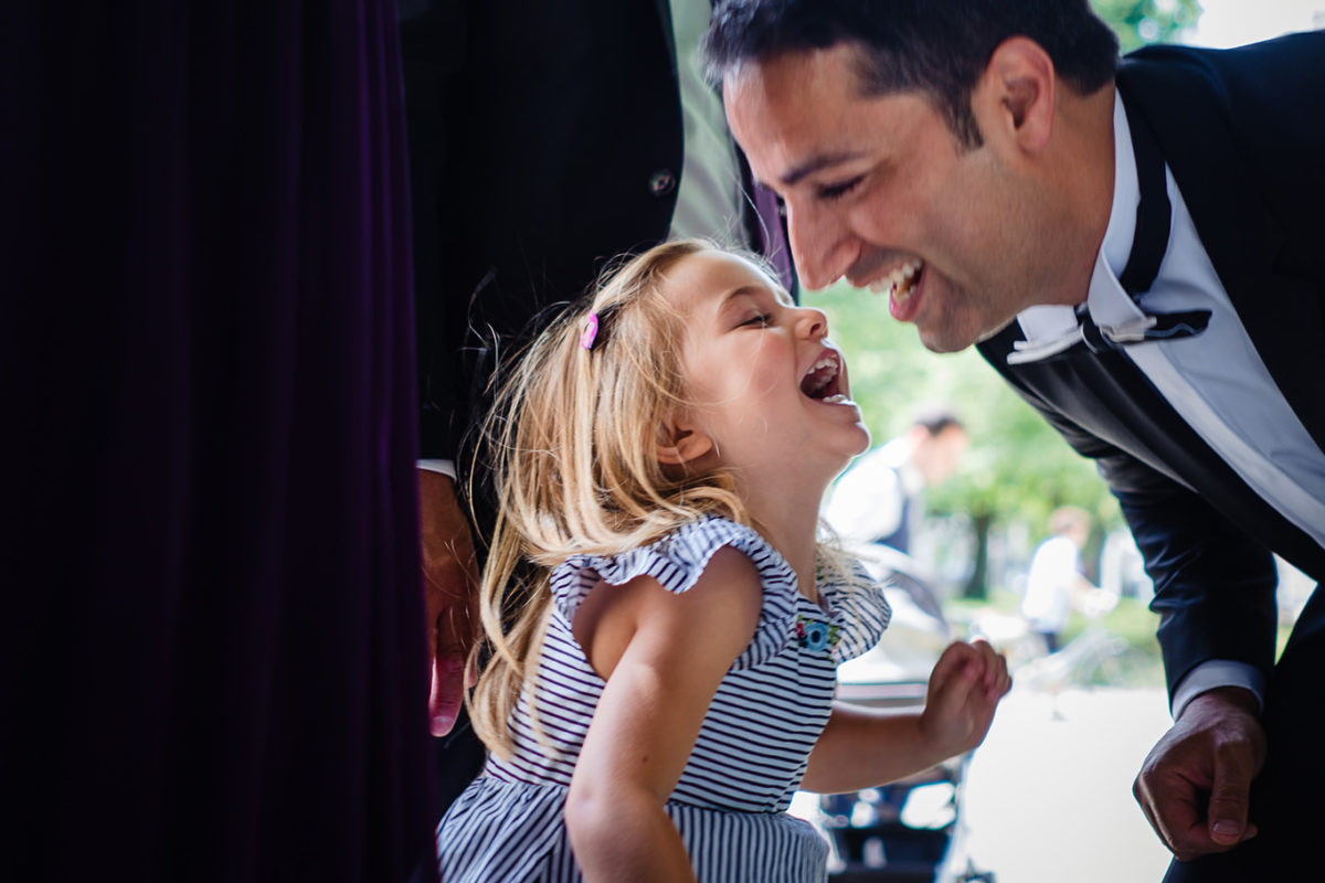 Groom and little girl