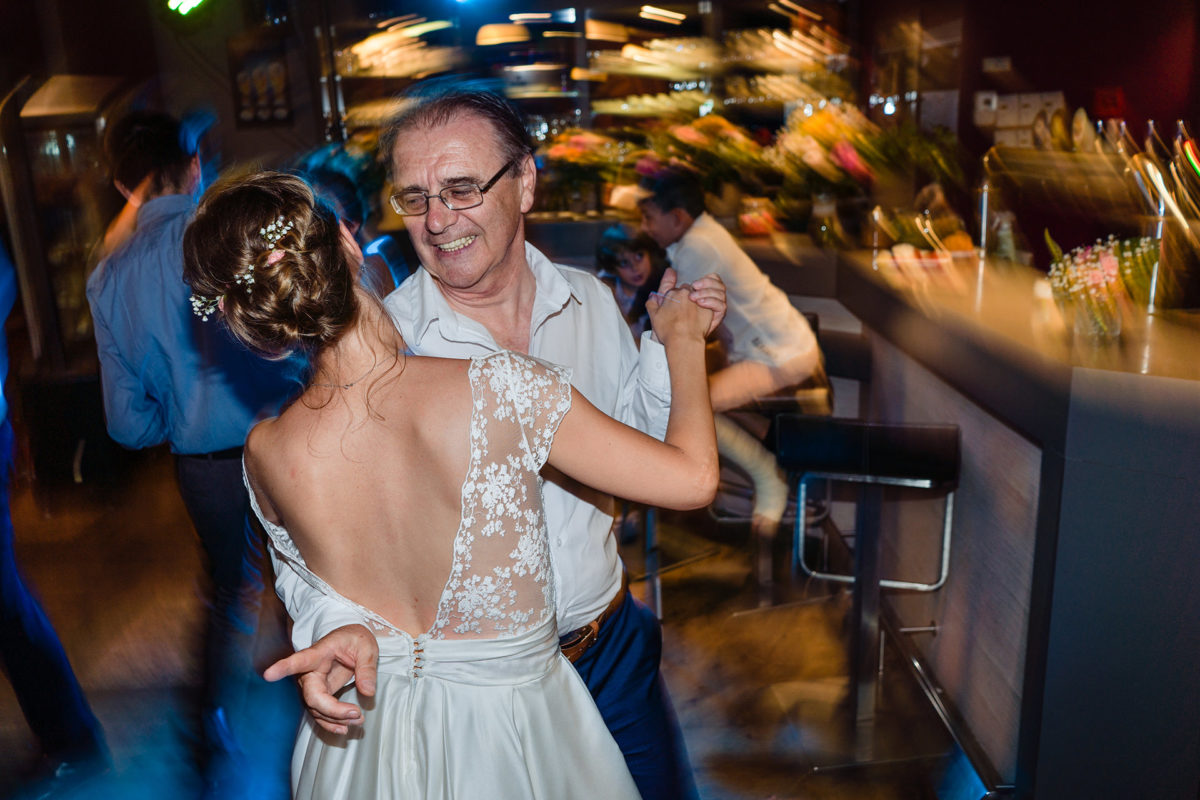 Bride and father dance  - Wedding in French Alps