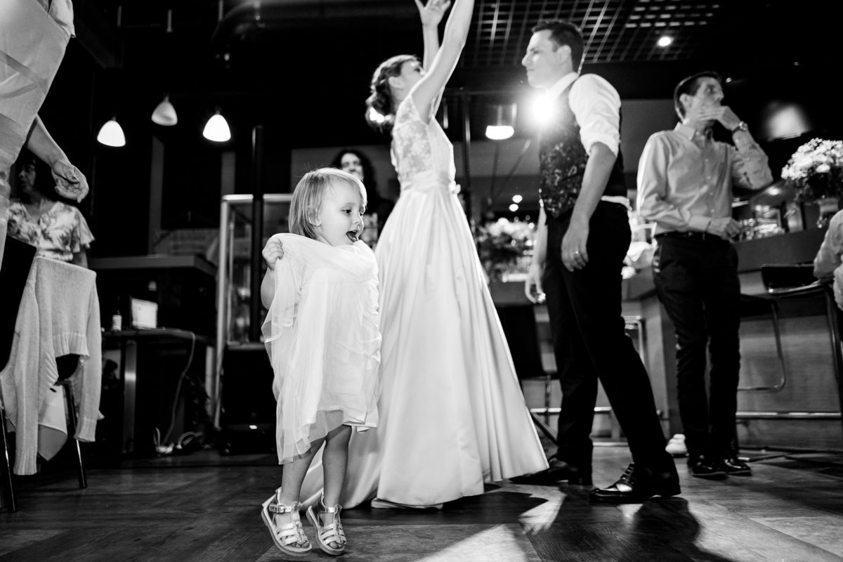 Little girl have fun at wedding