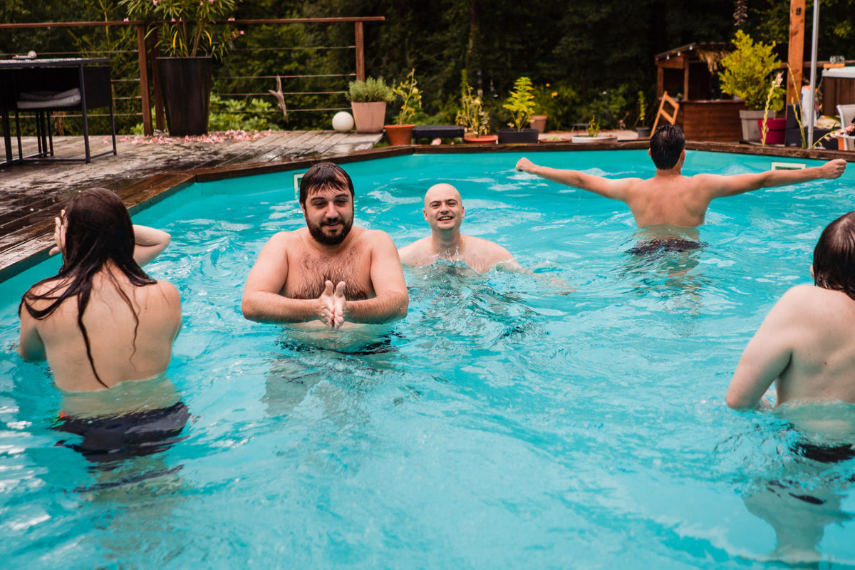 Everybody in the pool after wedding